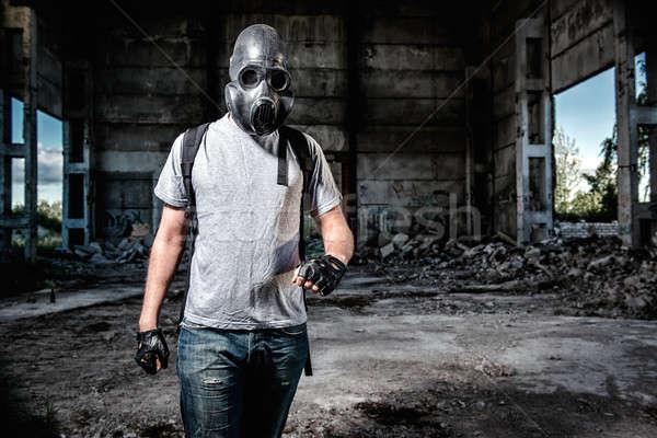 человека противогаз маске промышленных человек воздуха Сток-фото © amok