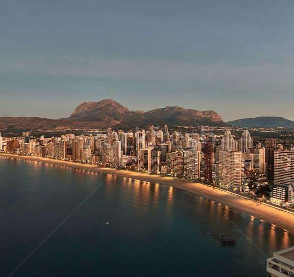 Aerial view of a Benidorm city coastline at sunrise. Spain Stock photo © amok