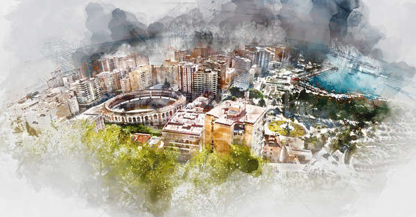 Panoramic view of Malaga bullring and harbor, Spain Stock photo © amok
