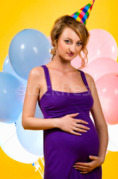 Zwangere jonge vrouw vrouw familie baby partij Stockfoto © amok