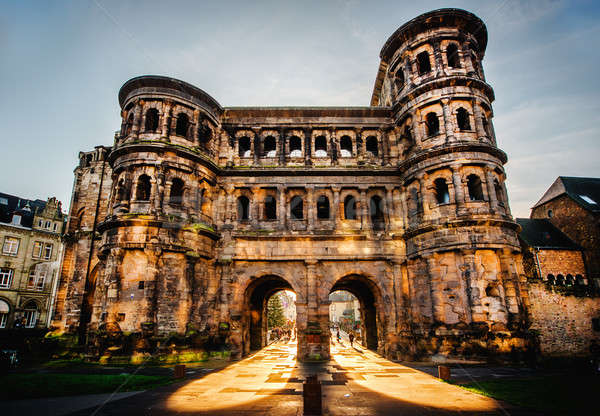 The Porta Nigra (Black Gate) in Trier city, Germany. It is a famous large Roman city gate. Stock photo © amok