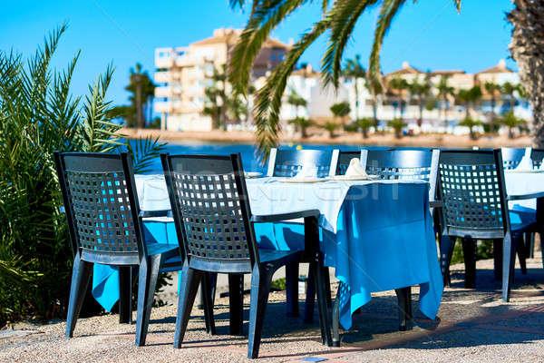 Buitenshuis restaurant la manga Spanje strand Stockfoto © amok