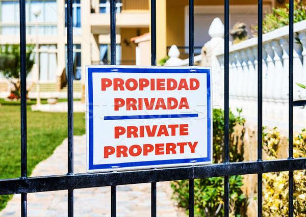 Private property sign on a iron gate Stock photo © amok