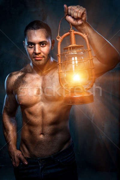 Photo stock: Musculaire · construire · homme · mains