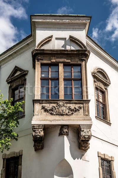 Venster oude binnenstad hal vierkante Boedapest Hongarije Stockfoto © amok