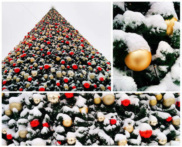 Collage of snow-covered christmas tree decorated with balls outdoors Stock photo © amok