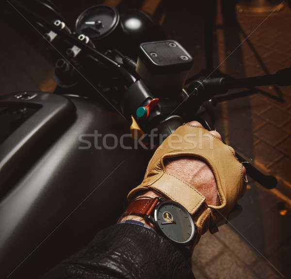 Close-up of hand of motorcyclist in protective glove  Stock photo © amok