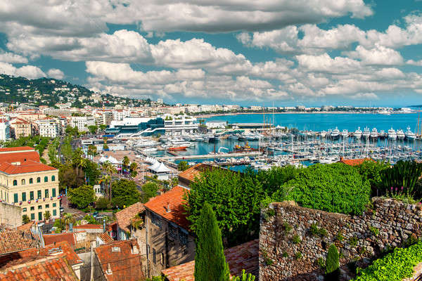 Panoramic view of Le Suquet- the old town and Port Le Vieux of C Stock photo © amok