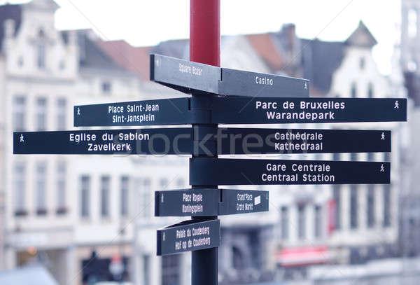 Toeristische wegwijzer Brussel België weg stad Stockfoto © amok