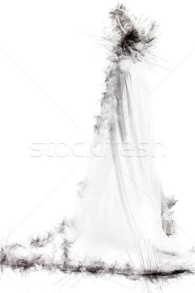 Female with goat body-art. Digitally altered image Stock photo © amok