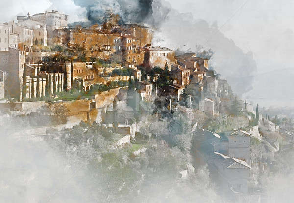 View to the Gordes, is a very beautiful hilltop village in France Stock photo © amok