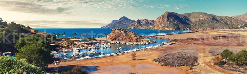 Festői panoráma falu Spanyolország gyönyörű kikötő Stock fotó © amok