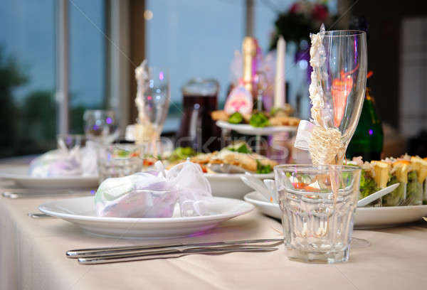 Luxury banquet table setting in restaurant close-up Stock photo © amok