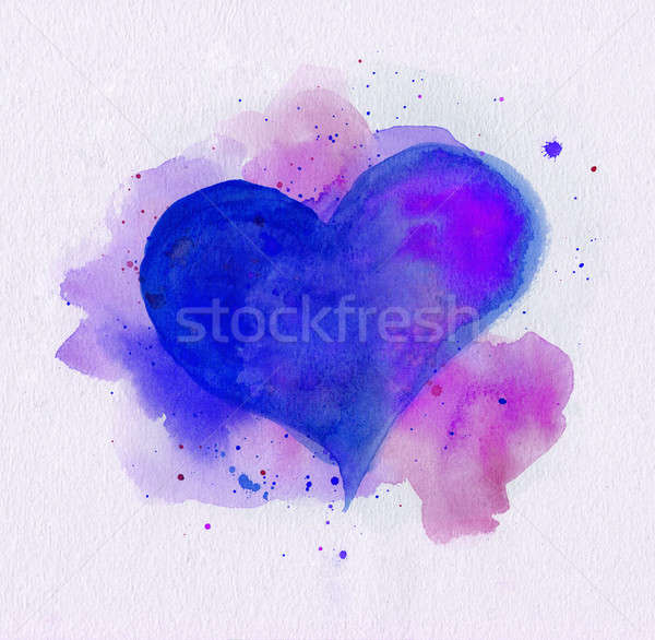Watercolor heart. Blue and purple colors Stock photo © amok