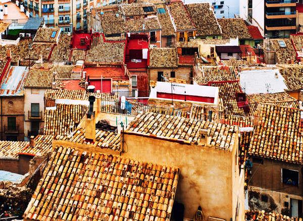 屋根 スペイン セラミック タイル 町 コミュニティ ストックフォト © amok