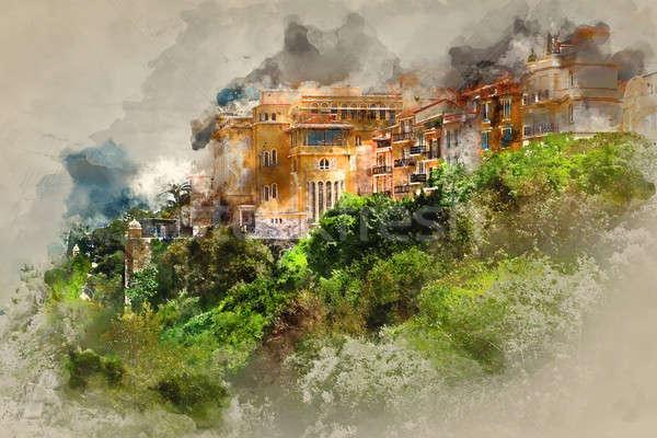 Монако цифровой акварель Живопись здании город Сток-фото © amok