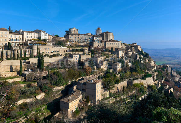 View to the Gordes, is a beautiful hilltop village in France. Stock photo © amok
