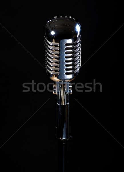 Professionele vintage microfoon geïsoleerd zwarte muziek Stockfoto © amok