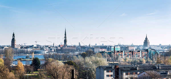 Riga Letonia iglesia azul río Foto stock © amok