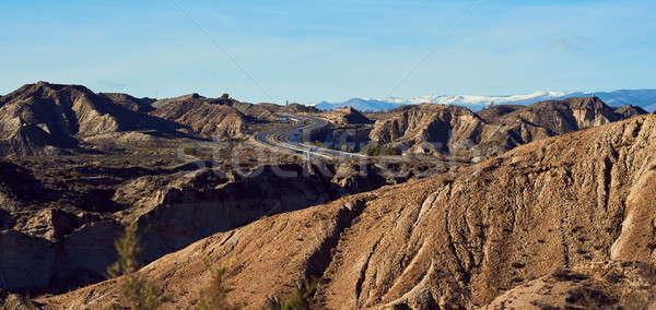 Highway through the slopes of Tabernas desert, Spain Stock photo © amok