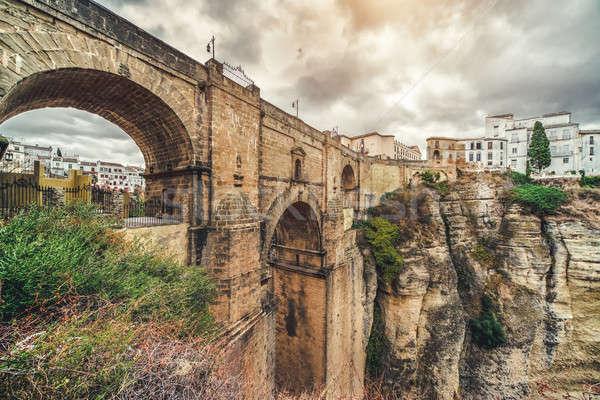 The Puente Nuevo bridge and Picturesque view of Ronda city. Prov Stock photo © amok