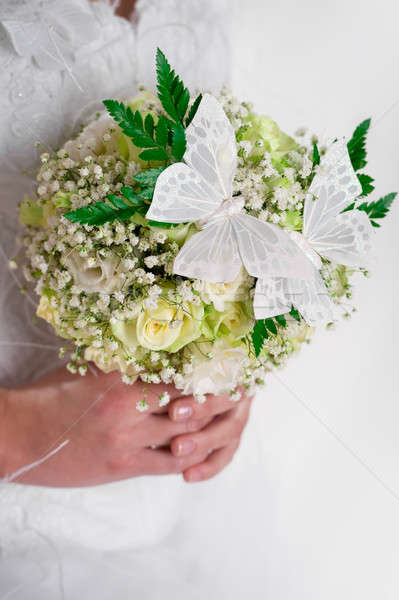 Beautiful bridal bouquet decorated with butterflies  Stock photo © amok