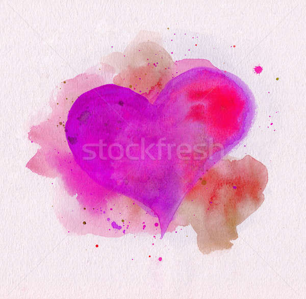 Watercolor heart. Pink and red colors Stock photo © amok
