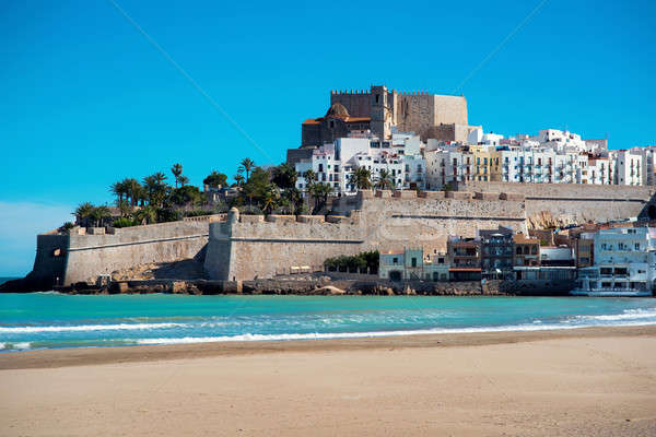 Peniscola castle, view from the beach. Spain Stock photo © amok