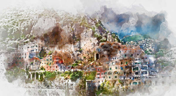 Digital watercolor painting of Amalfi Stock photo © amok