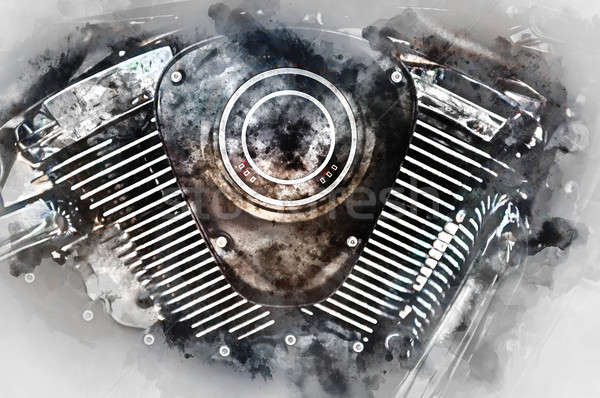 Motorcycle engine close-up. Digital watercolor painting. Stock photo © amok