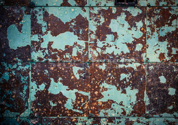 Rusty brown-cyan wall background Stock photo © amok