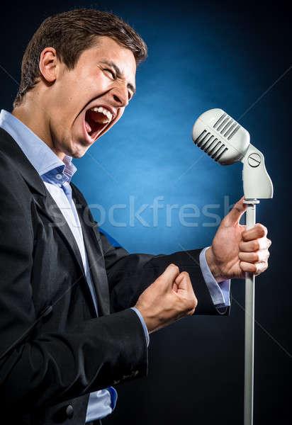 человека элегантный черный куртка синий рубашку Сток-фото © amok