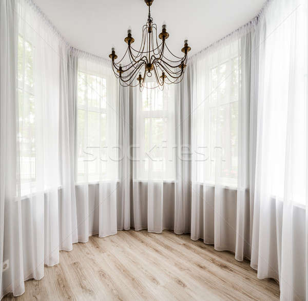 Elegant room interior with wooden floor, white curtain and chandelier Stock photo © amok