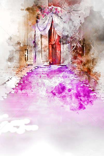 свадьба проход цифровой акварель Живопись цветы Сток-фото © amok