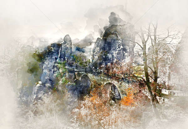 Digital watercolor painting of Bastei Bridge. Major landmark of the Saxon Switzerland National Park. Stock photo © amok