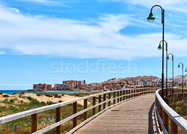 La plaży drewna miasta charakter Zdjęcia stock © amok
