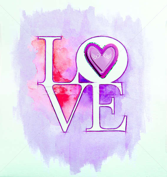 Word LOVE over abstract watercolor painting and purple heart Stock photo © amok