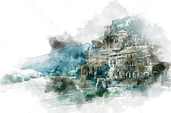 Digital watercolor painting of Miravet village Stock photo © amok