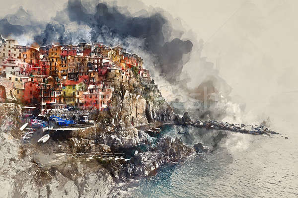 Digital watercolor painting of Manarola. Italy Stock photo © amok