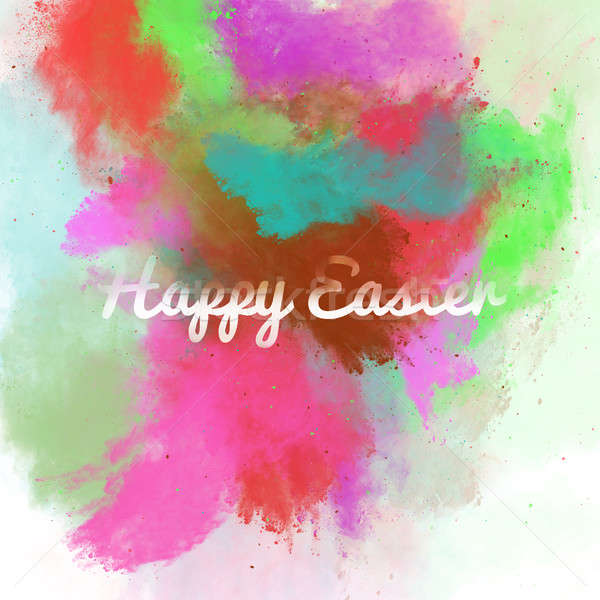 Happy Easter greeting card on a colorful watercolor background.  Stock fotó © amok