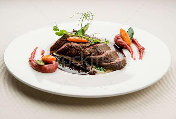Ikra szarvas filé zöldségek lila krumpli Stock fotó © amok