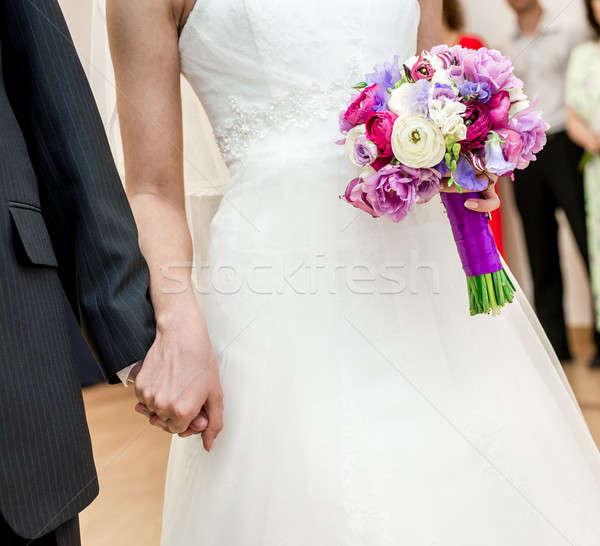 Mariée marié fleurs mains mariage homme Photo stock © amok