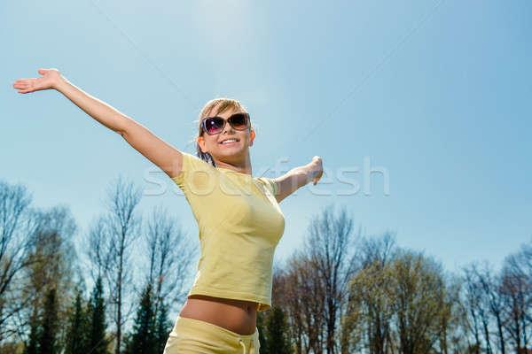 Cheerful attractive girl enjoying nature. Freedom concept Stock photo © amok