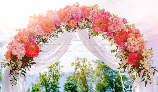Beautiful white wedding arch outdoors Stock photo © amok