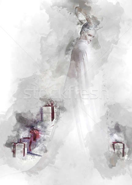 Horned woman and heap of gift boxes. Digital watercolor painting. Stock photo © amok