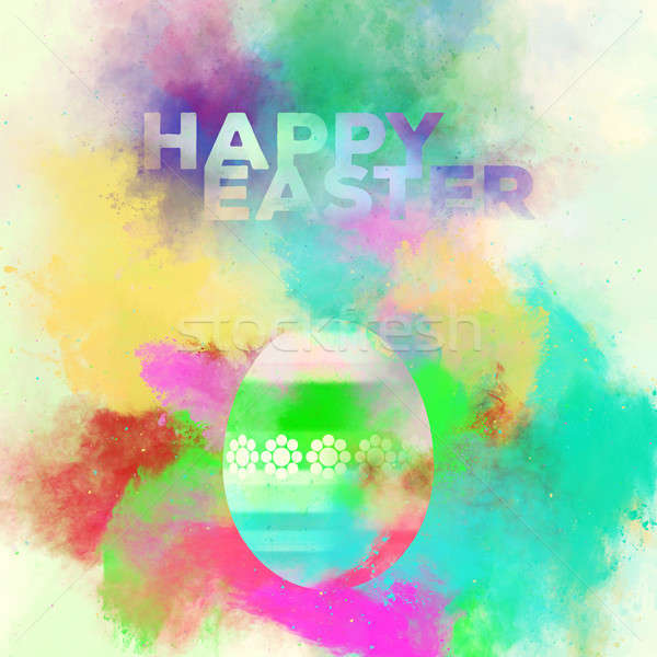 Happy Easter greeting card. Easter egg on a watercolor background Stock fotó © amok
