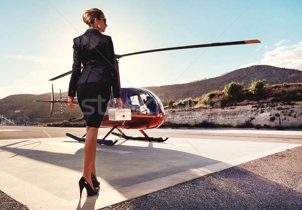 Elegante donna d'affari elicottero business successo lusso Foto d'archivio © amok