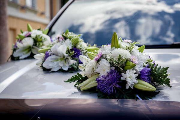 свадьба автомобилей украшение цветок любви лист Сток-фото © amok