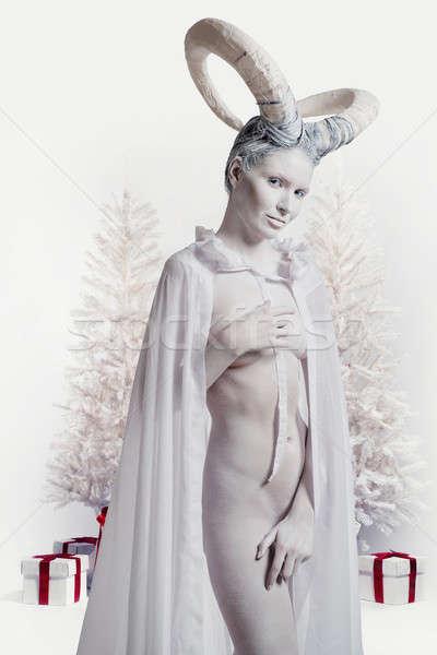 Sexy woman with goat body-art Stock photo © amok