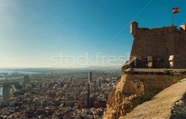 Castle of Santa Barbara and aerial view of  Alicante city Stock photo © amok